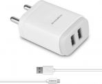 Ambrane AWC-22 2.1A Dual Port Fast Charger with Charge & Sync USB Cable Mobile Charger(White, Cable Included)