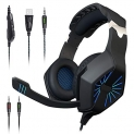 Maono AU-A1 Gaming Headphones with Headset, Mic Control and LED Light (Blue and Black)